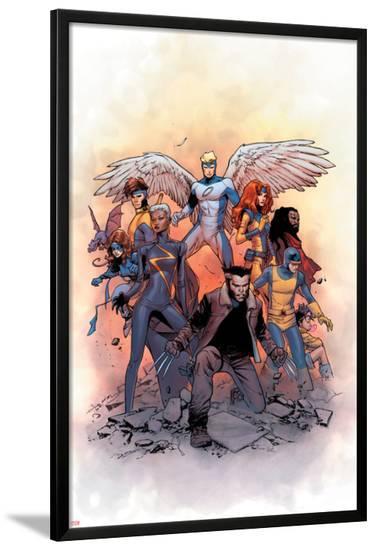 X-Men: Gold #1 Cover: Lockheed, Shadowcat, Storm, Angel, Grey, Jean, Bishop, Cyclops, Jubilee-Olivier Coipel-Lamina Framed Poster