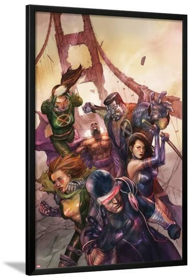 X-Men Legacy No.242 Cover: Cyclops, Colossus, Rogue, Magneto and Others on the Golden Gate Bridge-Leinil Francis Yu-Lamina Framed Poster