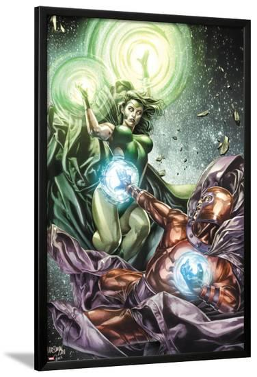X-Men Legacy No.255 Cover: Polaris and Magneto Fighting-Mico Suayan-Lamina Framed Poster