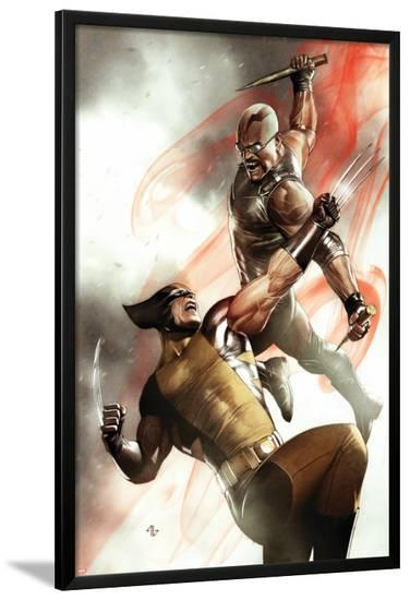 X-Men No.2 Cover: Wolverine and Blade Fighting-Adi Granov-Lamina Framed Poster