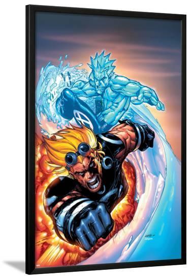 X-Men No.201 Cover: Iceman and Cannonball-Humberto Ramos-Lamina Framed Poster