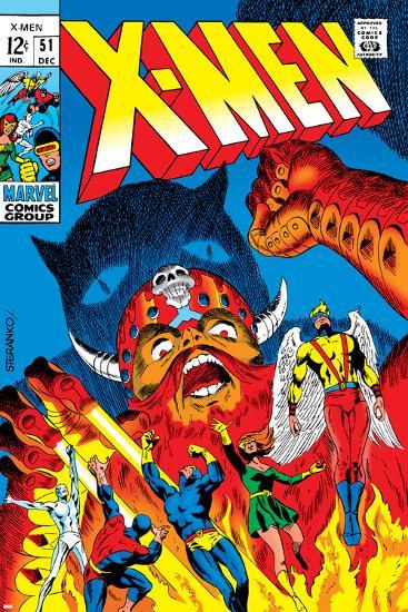 X-Men No.51 Cover: Erik The Red, Cyclops, Angel, Iceman and X-Men-Arnold Drake-Art Print