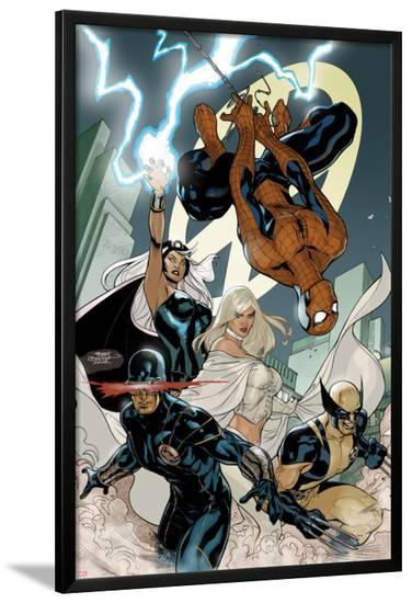 X-Men No.7 Cover: Spider-Man, Cyclops, Wolverine, Storm, and Emma Frost-Terry Dodson-Lamina Framed Poster
