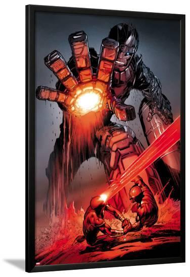 X-Men: Schism No.4: Sentinel, Cyclops, and Wolverine Fighting-Alan Davis-Lamina Framed Poster