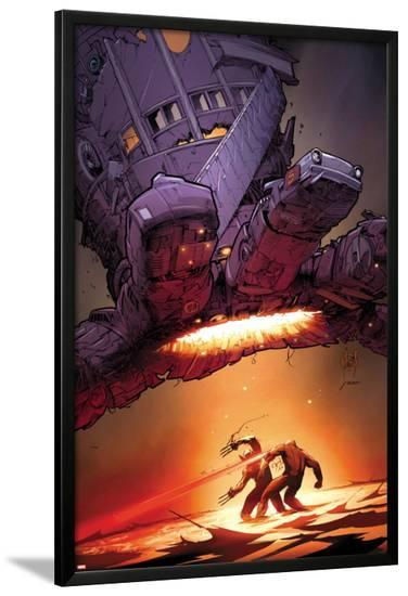 X-Men: Schism No.5 Cover: Wolverine and Cyclops Fighting with Sentinel Overhead-Adam Kubert-Lamina Framed Poster