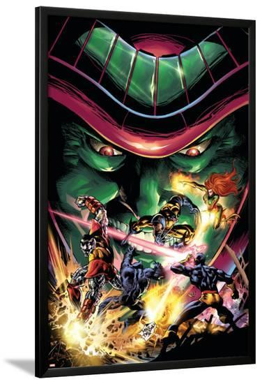 X-Men Unlimited No.13 Cover: Colossus, Wolverine, Beast, Cyclops, Phoenix and Mesmero-Clay Mann-Lamina Framed Poster