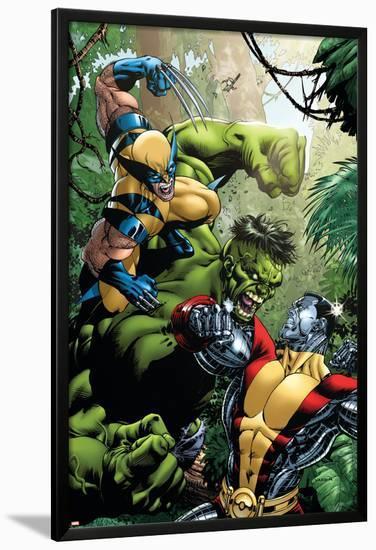 x men vs hulk no 1 cover wolverine colossus and hulk lamina framed