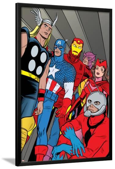X-Statix No.21 Group: Ant-Man, Captain America, Thor, Iron Man, Scarlet Witch, Hawkeye and Avengers-Michael Allred-Lamina Framed Poster