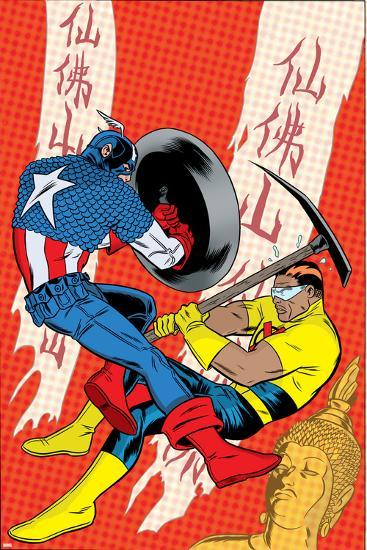 X-Statix No.22 Cover: Captain America and The Anarchist Fighting and Shooting-Michael Allred-Art Print