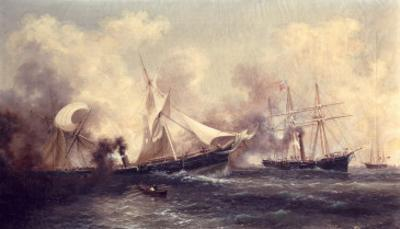 U.S.S. Kearsarge Sinking the Alabama, 19th June 1864 by Xanthus Russell Smith