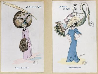 "The Eagle Owl Fur Hat"" and ""The Crane Hat,"" Cartoon Fashion Plates, 1910"
