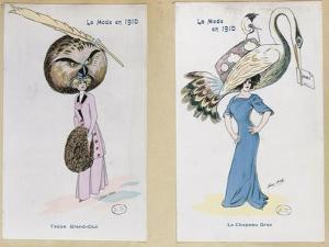 """The Eagle Owl Fur Hat"""" and """"The Crane Hat,"""" Cartoon Fashion Plates, 1910 by Xavier Sager"""