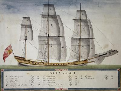 Xebec at Full Sail from Atlas of Sailing by Gian Maria Maffioletti--Giclee Print