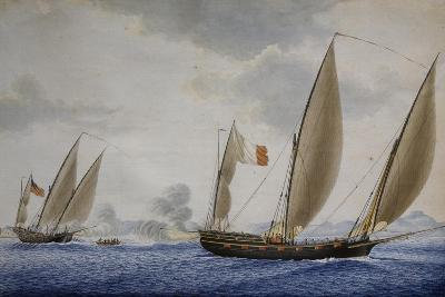 Xebec Conception in Combat with Xebec Le Volcan, 1804, Watercolor by Nicolas Cammillieri--Giclee Print