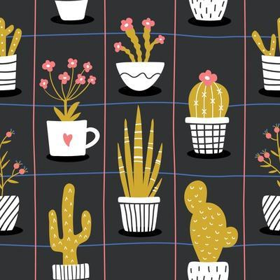 Cute Flowers and Cactus - Geometric
