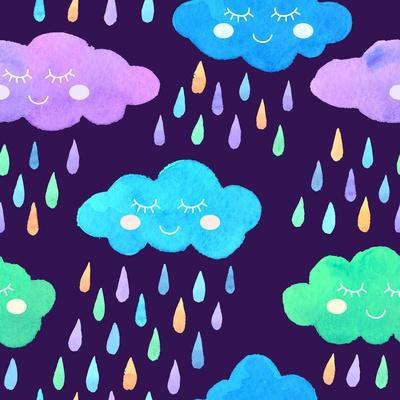 Watercolor Pattern with Smiling Clouds and Colorful Rain