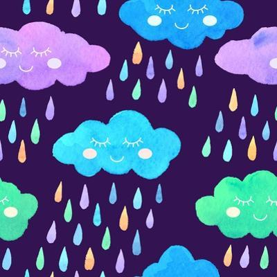 Watercolor Pattern with Smiling Clouds and Colorful Rain by xenia800