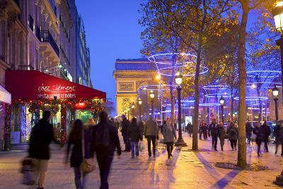 Xmas Decorations on Avenue Des Champs-Elysees with Arc De Triomphe in Background, Paris, France-Neil Farrin-Photographic Print