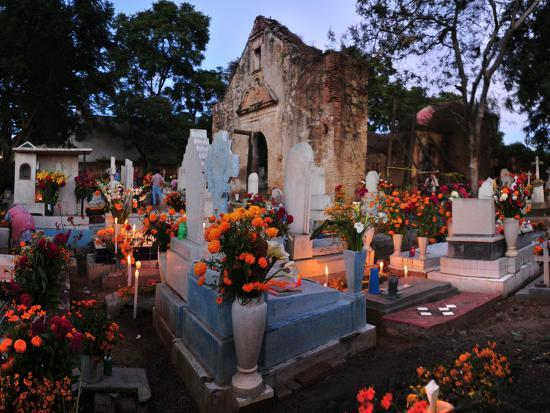 Xoxocotlan Graveyard on the Night of Day of the Dead-Raul Touzon-Photographic Print