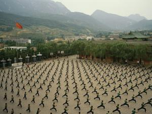 Children Practice Kung Fu in a Courtyard at the Ta Gou Academy by xPacifica