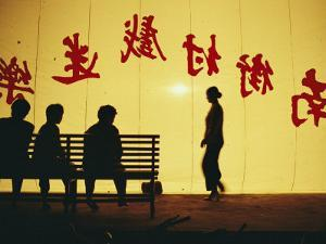 Chinese Characters Printed on a Backdrop at a Cultural Performance by xPacifica