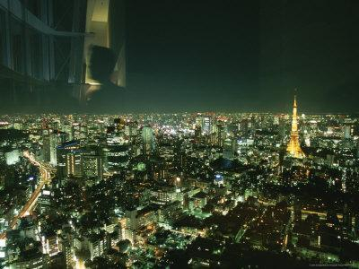 Elevated View of Tokyo Tower at Night