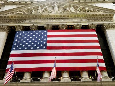 Facade of the New York Stock Exchange Draped in the American Flag