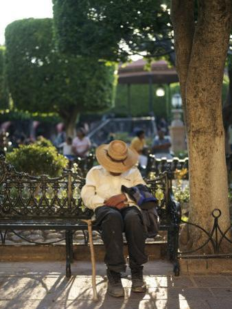 Old Man Falls Asleep on a Park Bench in El Jardin by xPacifica