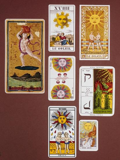 Xviiii the Sun, Seven Tarot Cards from Different Packs--Giclee Print