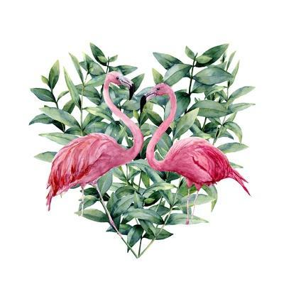 Watercolor Heart with Pink Flamingo and Eucalyptus Leaves. Hand Painted Pink Flamingo and Leaves Is