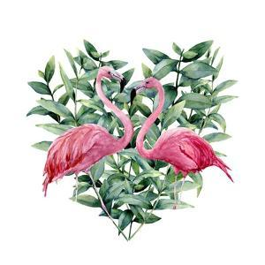 Watercolor Heart with Pink Flamingo and Eucalyptus Leaves. Hand Painted Pink Flamingo and Leaves Is by Y_D