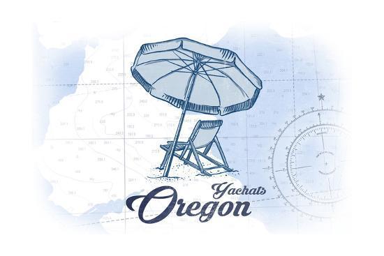 Yachats, Oregon - Beach Chair and Umbrella - Blue - Coastal Icon-Lantern Press-Art Print