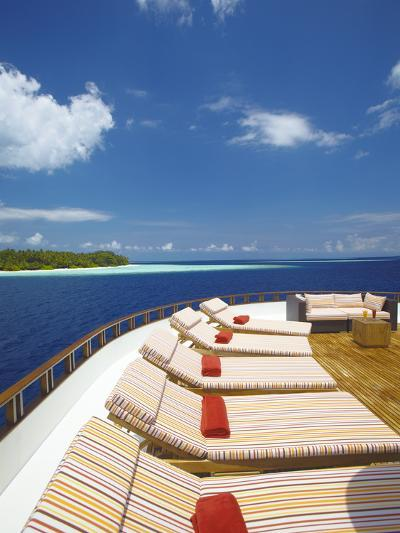 Yacht and Tropical Island, Maldives, Indian Ocean, Asia-Sakis Papadopoulos-Photographic Print