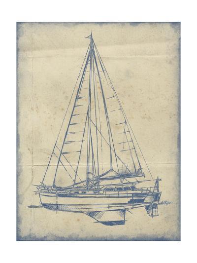 Yacht Blueprint I-Ethan Harper-Art Print