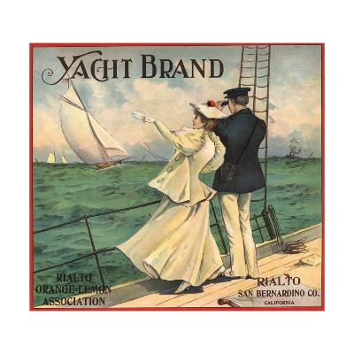 Yacht Brand - Rialto, California - Citrus Crate Label-Lantern Press-Art Print