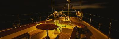 Yacht Cockpit at Night, Caribbean--Photographic Print