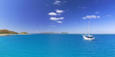 Yacht in Lagoon of Mana Island, Mamanuca Islands, Fiji-Ian Trower-Photographic Print