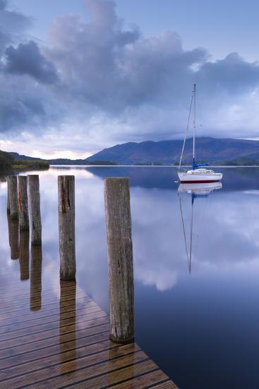 Yacht Moored Near Lodore Boat Launch on Derwent Water, Lake District, Cumbria-Adam Burton-Photographic Print