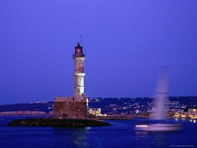 Yacht Sailing Past Hania Lighthouse at Dusk, Hania, Greece-Glenn Beanland-Photographic Print