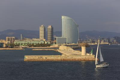 Yacht Sails Past La Barceloneta and the Waterfront-Eleanor Scriven-Photographic Print