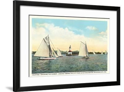 Yachting Near Michigan City--Framed Art Print