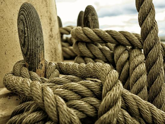 Yachting. Parts of Yacht. Nautical Ship Rope.-Voy-Photographic Print