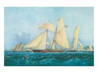 Yachting, Scene off Cowes Isle of Wight-Thomas Sewell Robins-Art Print