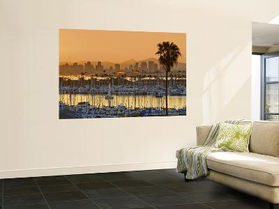 Yachts across San Diego Bay at Sunrise, Looking Towards Downtown-Witold Skrypczak-Wall Mural