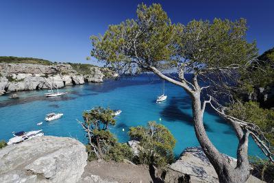 Yachts Anchored in Cove, Cala Macarella, Near Cala Galdana-Stuart Black-Photographic Print