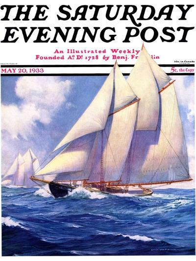 """""""Yachts at Sea,"""" Saturday Evening Post Cover, May 20, 1933-Anton Otto Fischer-Giclee Print"""