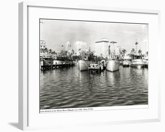 Yachts Docked on the Miami River, C.1930--Framed Photographic Print