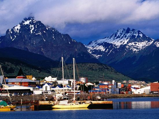 Yachts Docked on Waterfront, City and Mountains-Richard l'Anson-Photographic Print