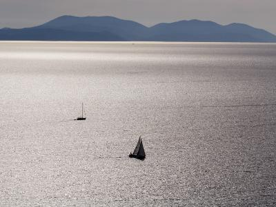 Yachts in Gleaming Sea from Hill Above Zavala-Will Salter-Photographic Print