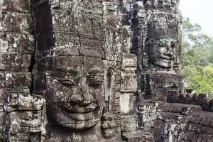 Buddha Face Carved in Stone at the Bayon Temple, Angkor Thom, Angkor, Cambodia by Yadid Levy